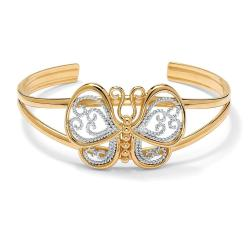 PalmBeach 18k Yellow Goldplated Filigree Butterfly Cuff Bracelet Tailored