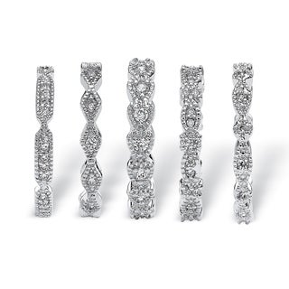PalmBeach CZ Silvertone Cubic Zirconia Stackable Eternity Rings (Set of 5) Classic CZ