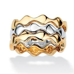 PalmBeach Two-Tone Stackable Zig-Zag Rings (Set of 3) Tailored