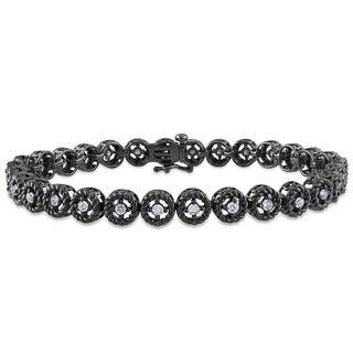 Miadora Black-plated Sterling Silver 1ct TDW Diamond Bracelet (H-I, I3)