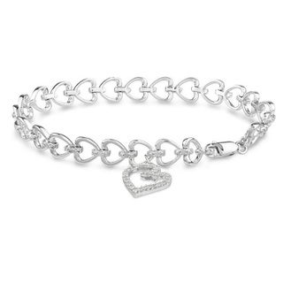 Haylee Jewels Sterling Silver 1/2ct TDW Diamond Heart Charm Bracelet (H-I, I3)