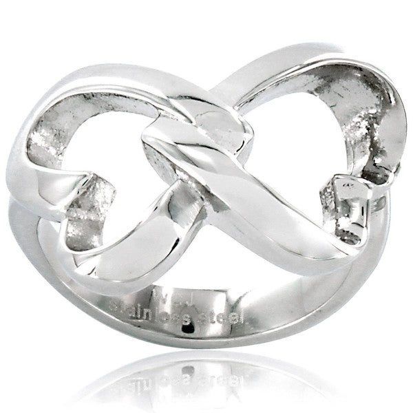 West Coast Jewelry Interlocking Hearts Stainless-Steel Ring with High-polish Finish