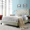 ETHAN HOME Sophie Taupe Velvet Tufted Full-size Platform Bed