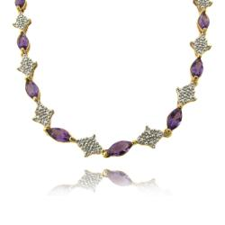 Dolce Giavonna Gold over Silver Amethyst and Diamond Accent Necklace