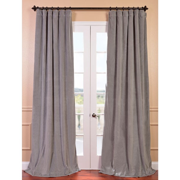 Signature Silver Grey Velvet Blackout Curtain Panel