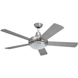 Contemporary 52-inch Nickel 2-light Ceiling Fan