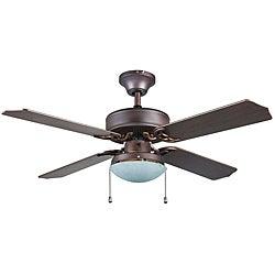 Transitional Bronze One-light Ceiling Fan