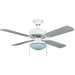 Transitional White One-Light Ceiling Fan