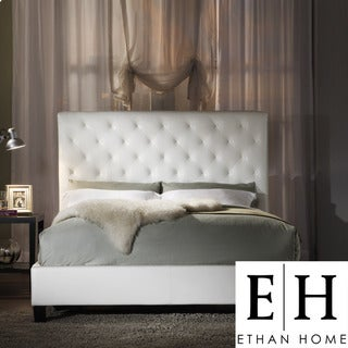 ETHAN HOME Sophie White Vinyl Tufted King-size Bed