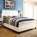 INSPIRE Q Fenton White Bonded Leather Panel King-sized Upholstered Platform Bed