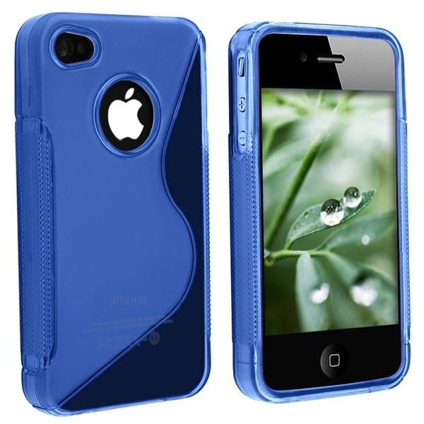 INSTEN Clear/ Dark Blue 'S' Shape TPU Phone Case Cover for Apple iPhone 4