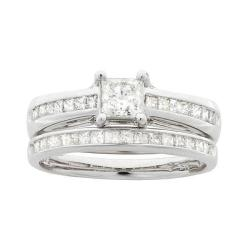 14k White Gold 1 1/10ct TDW Princess Diamond Bridal Ring Set (I-J, I1-I2)