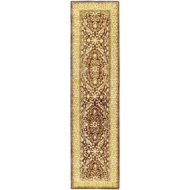 Safavieh Handmade Silk Road Majestic Maroon N.Z. Wool Rug (2'6 x 12')