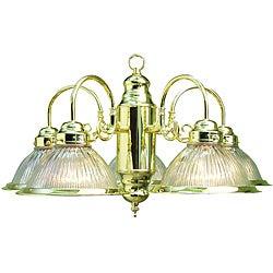 Woodbridge Lighting Basic 5-light Polished Brass Prism Glass Chandelier