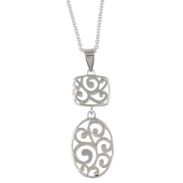 La Preciosa Sterling Silver Filigree Oval Necklace