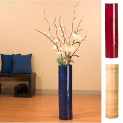 White Sword Lilies with 27-inch Bamboo Floor Vase