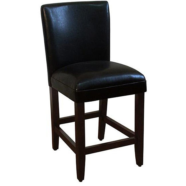 24 inch luxury black faux leather barstool overstock for Luxury leather bar stools