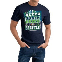 Seattle 'I Bleed Blue & Green' Navy Tee