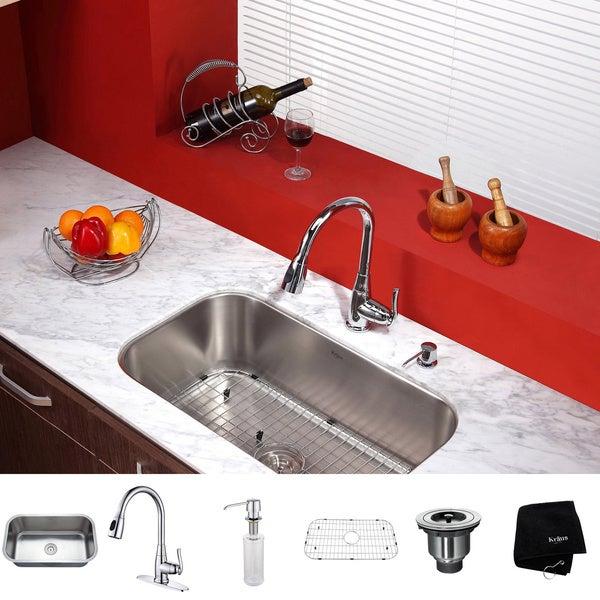 Kraus Kitchen Combo Set Stainless Steel 31.5-inch Undermount Sink/Faucet