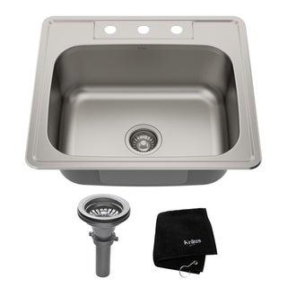 Kraus 25 -inch Topmount Single Bowl Steel Kitchen Sink