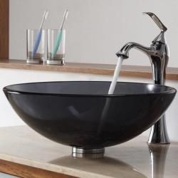 Kraus Bathroom Combo Set Clear Black Glass Vessel Sink/Ventus Faucet