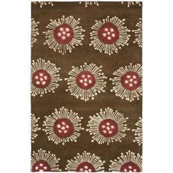Safavieh Handmade Soho Celebrations Brown New Zealand Wool Rug (7'6 x 9'6)