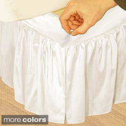 Grand Luxe 'Hike Up Your Skirt' Ruffled Faux Silk Adjustable 17-inch Drop Queen-size Bedskirt