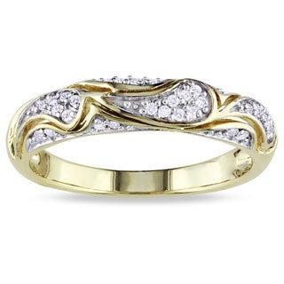 Miadora 10k Yellow Gold 1/10ct TDW Round-cut Diamond Ring (G-H, I2-I3)