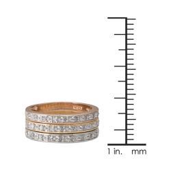 Tri-color Silver 1/4ct TDW Diamond 3-piece Stackable Band Set (J-K, I3)