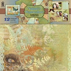 Hott Off The Press Paper Pack Nature's Watercolors (Pack of 12)