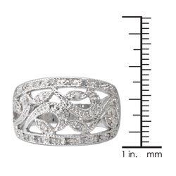 Sterling Silver 1/4ct TDW Diamond Vintage Openwork Ring (J-K, I3)