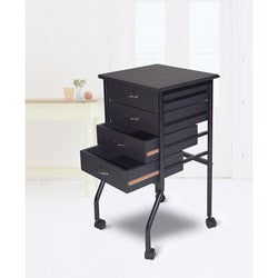 Cobalt Black Mobile Four-drawer Taboret with Durable Laminated Top