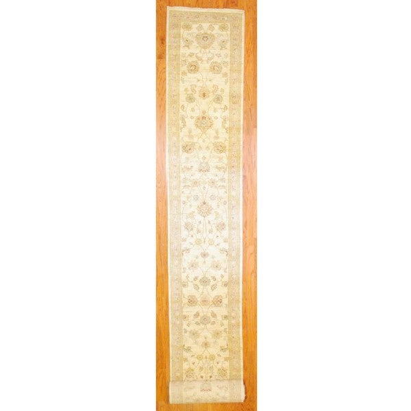 Afghan Hand-knotted Oushak Vegetable Dye Ivory/ Beige Wool Rug (2'8 x 20'6)