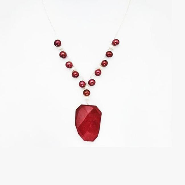 Pearlyta Sterling Silver Red Agate and FW Pearl Necklace (13-14 mm)