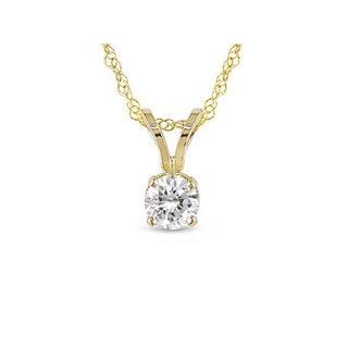Miadora 14k White or Yellow Gold 1/4ct Diamond Solitaire Pendant (G-H, I1-I2)