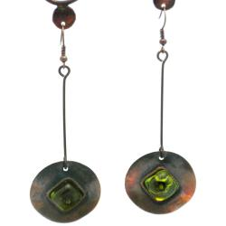 Copper Recycled Green Glass Round Earrings (Chile)