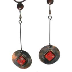 Copper Recycled Red Glass Round Earrings (Chile)