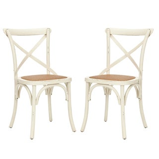 Safavieh Classical Bradford X Back Antiqued White Side Chairs (Set of 2)