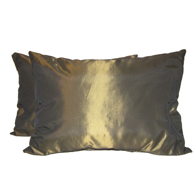 Taffeta Decorative Green/ Gold Pillows (Set of 2)