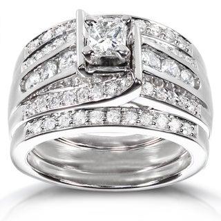 Annello 14k White Gold 1ct TDW 3-piece Diamond Bridal Ring Set (H-I, I1-I2) with Bonus Item