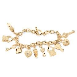 PalmBeach 14k Goldplated Clear Crystal Charm Bracelet Bold Fashion