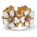 PalmBeach Two-tone Clear Crystal High-polished Flower Stretch Bracelet  Bold Fashion