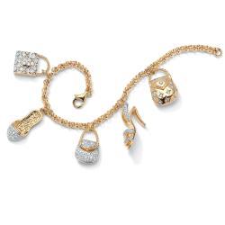 PalmBeach CZ 14k Goldplated Cubic Zirconia Handbag and Shoe Charm Bracelet Glam CZ