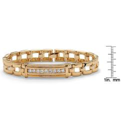 "PalmBeach Men's .90 TCW Round Cubic Zirconia 14k Gold-Plated I.D.-Style Bar-Link Bracelet 8"""