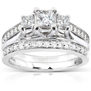 Annello 14k White Gold 4/5ct TDW Diamond Bridal Ring Set (H-I, I1-I2)
