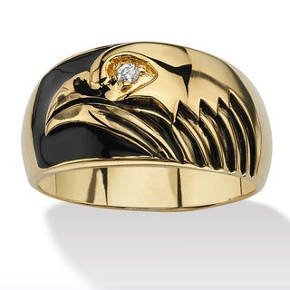 PalmBeach 14k Yellow Gold-Plated Cubic Zirconia Eagle Men's Ring