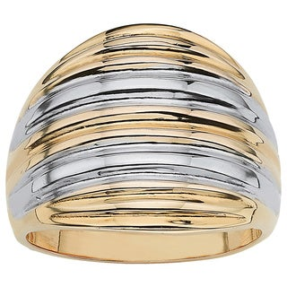 PalmBeach 18k Gold over Sterling Silver Two-Tone Dome Ring Tailored