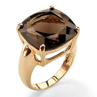 PalmBeach 14k Goldplated Faceted Smokey Quartz Ring