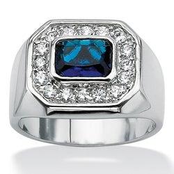 PalmBeach CZ Silvertone Blue Glass and Cubic Zirconia Ring Men's