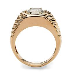 PalmBeach CZ 14k Goldplated Round-cut Cubic Zirconia Chevron Ring Men's